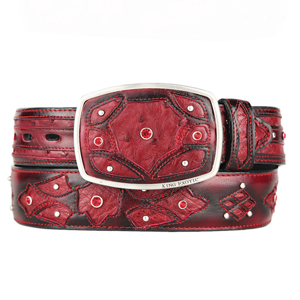 Men's Western Fashion Ostrich Belts - VaqueroBoots.com - 1