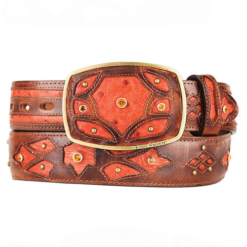 Men's Western Fashion Ostrich Belts - VaqueroBoots.com - 2