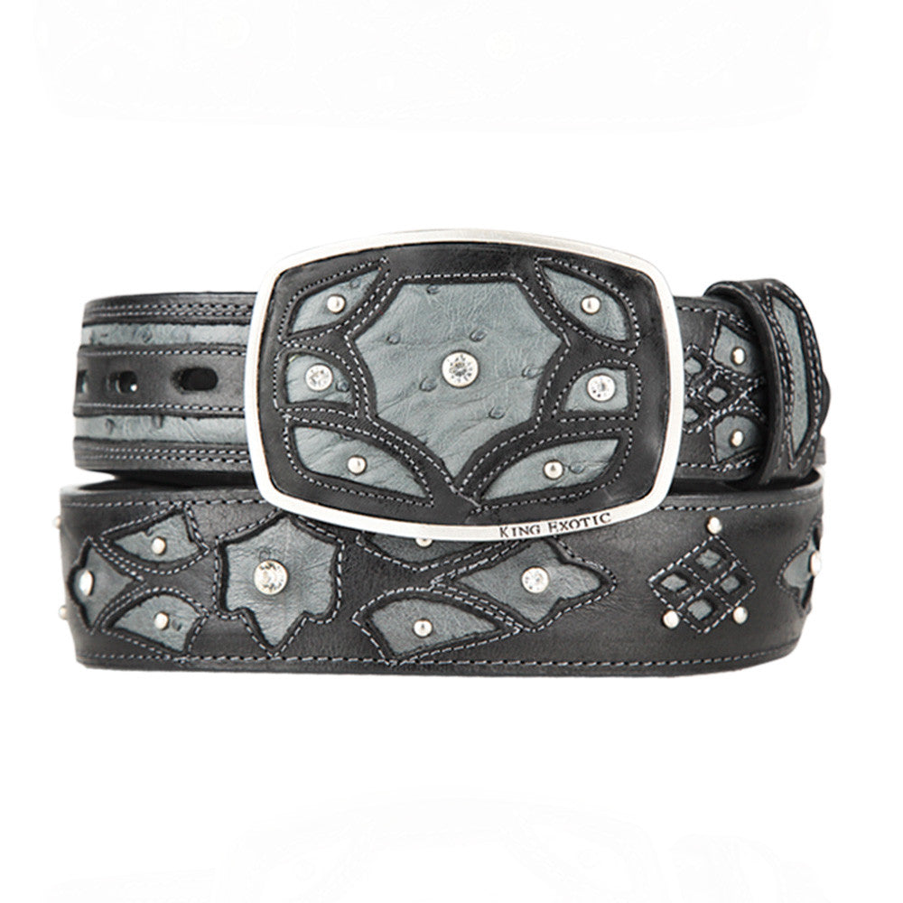 Men's Western Fashion Ostrich Belts - VaqueroBoots.com - 3