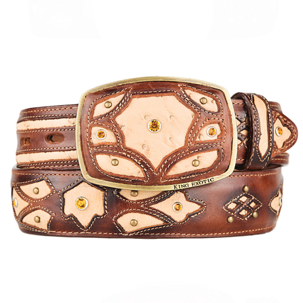 Men's Western Fashion Ostrich Belts - VaqueroBoots.com - 5