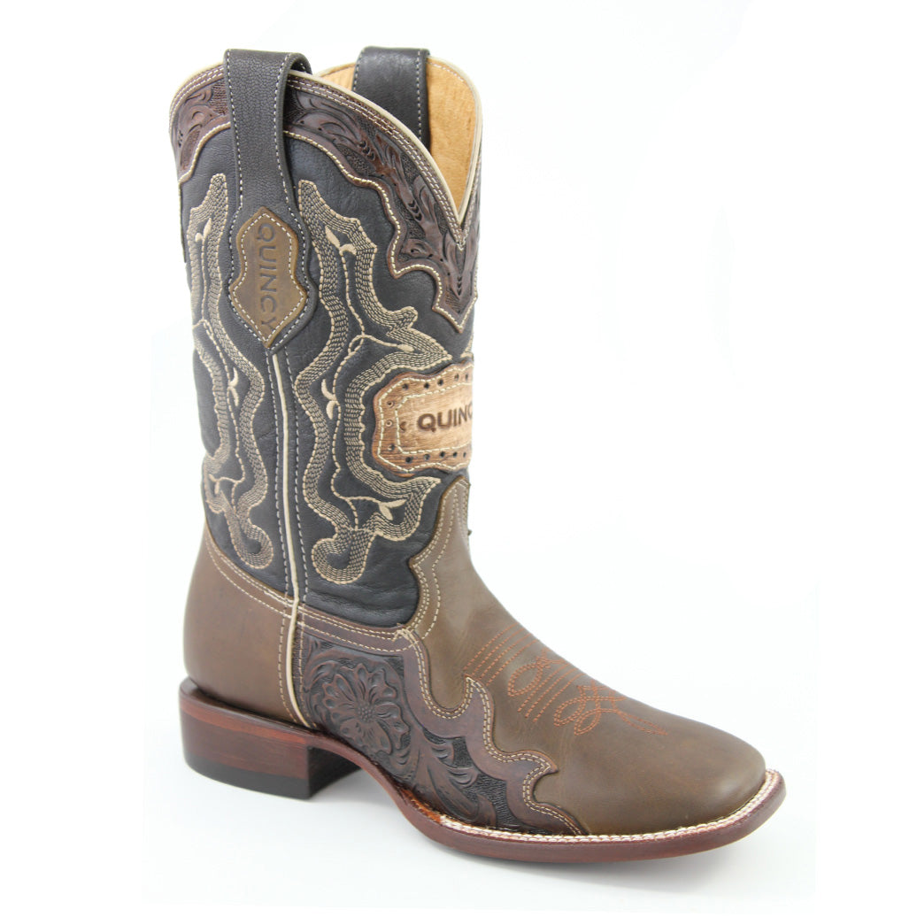 Quincy Mens Tooled Square Toe Boots
