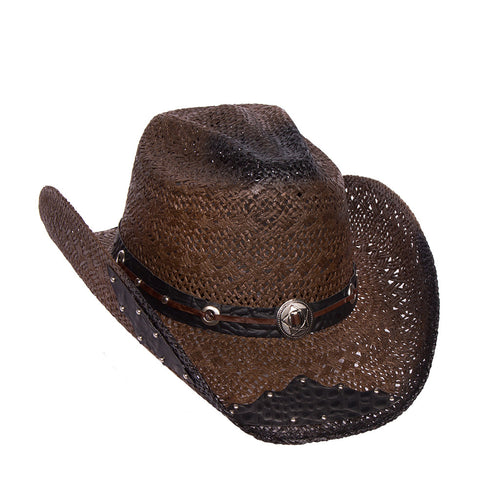 Women's Dark Brown Straw Hat