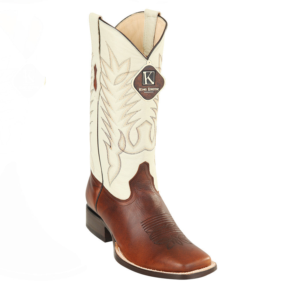 King Exotic Men's Pull Up Brown Wide Square Toe Cowboy Boot - VaqueroBoots.com