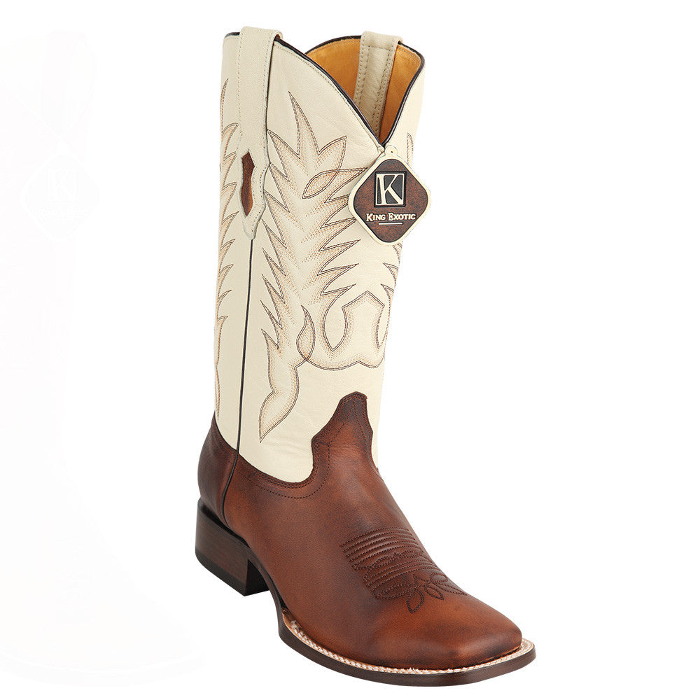 King Exotic Men's Rage Walnut Wide Square Toe Cowboy Boot - VaqueroBoots.com