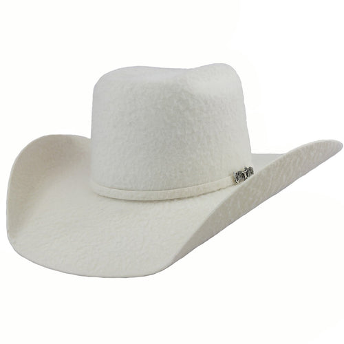 Cuernos Chuecos 10x White Grizzly Brick Crown Cowboy Hat