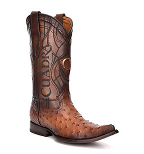 Cuadra Men's Ostrich Chihuahua Toe Pointed Cowboy Boots - Flame Honey