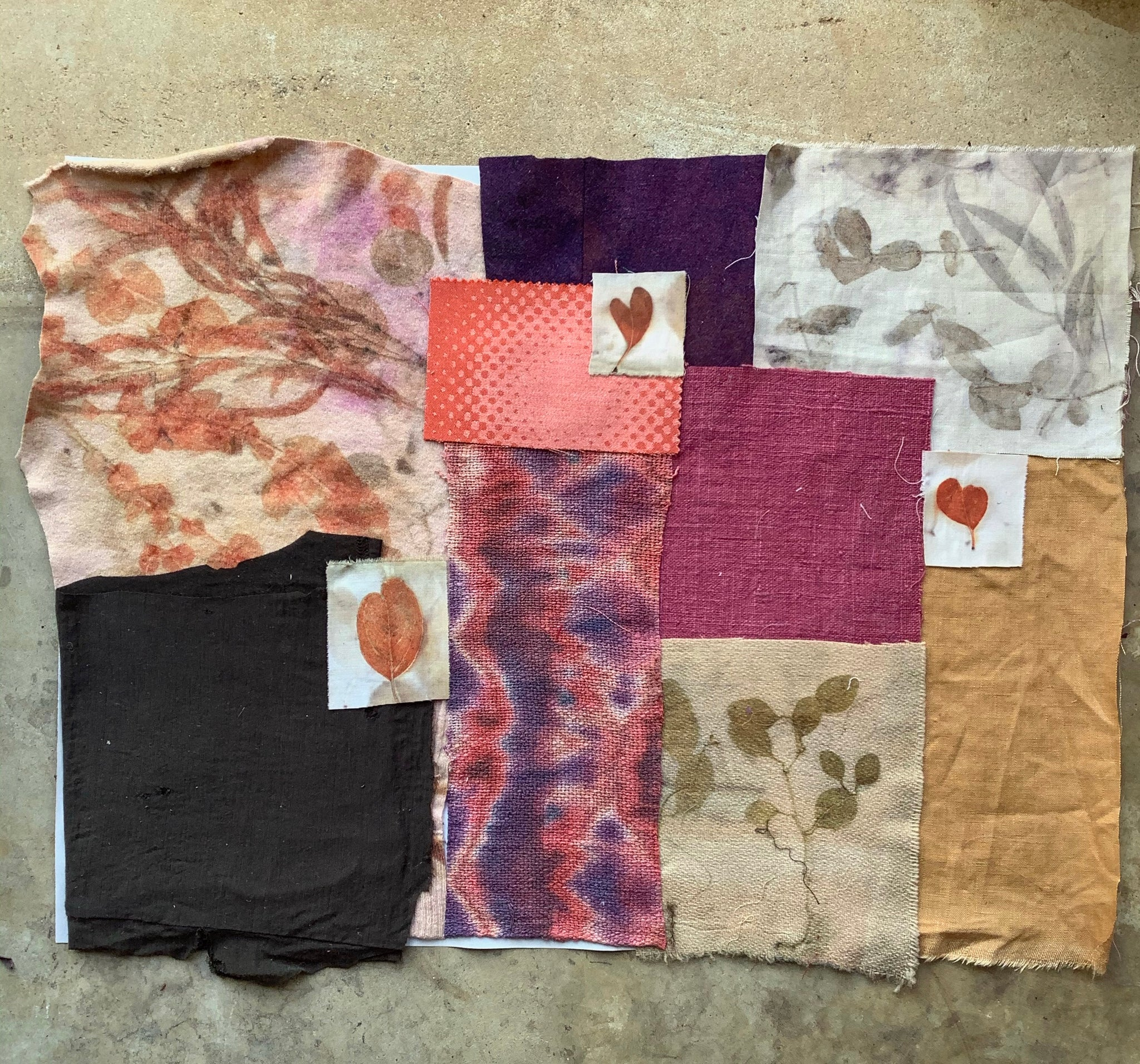 Natural Dye Pack - wool and linen eco print pieces  I