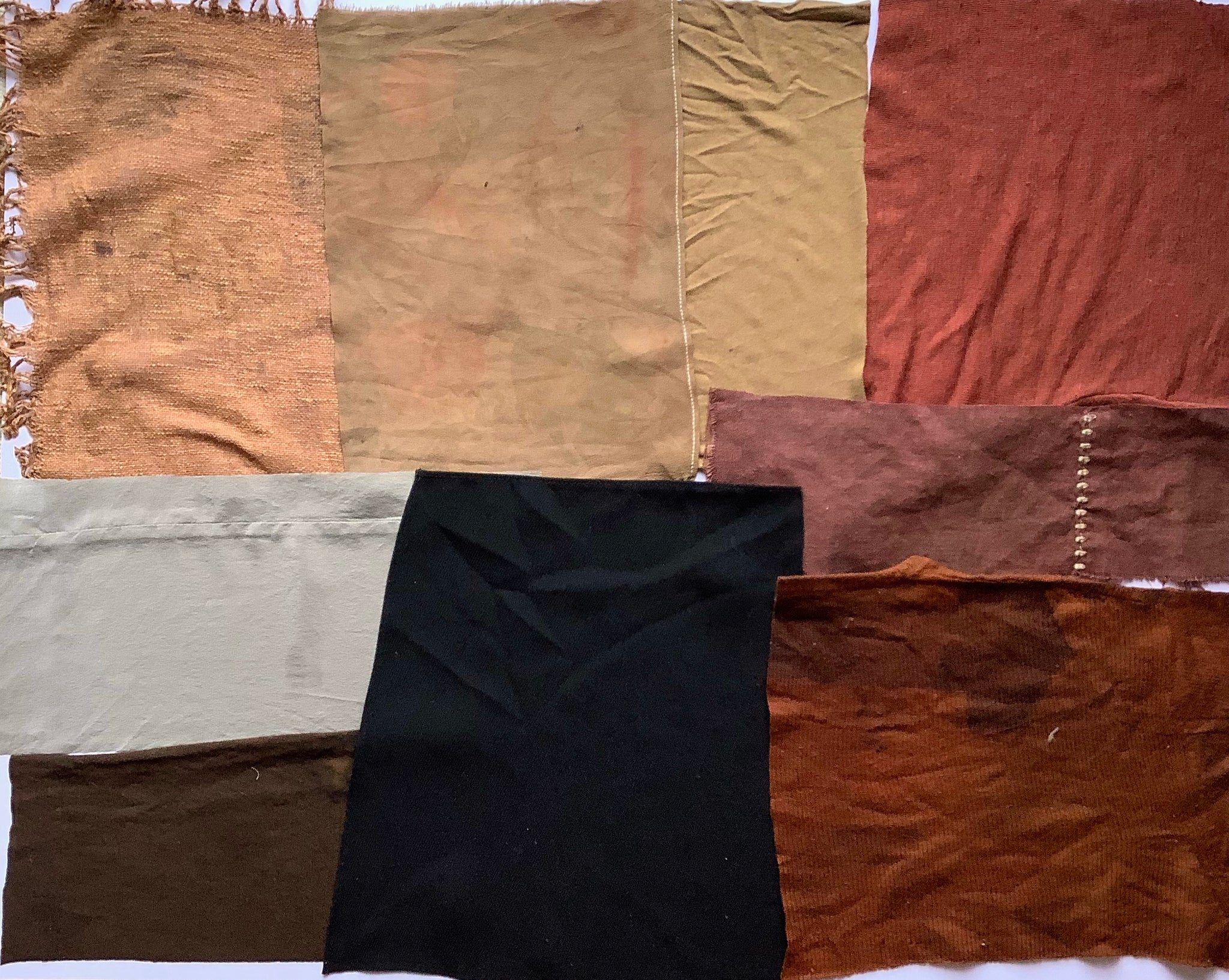 Walnut Dyed Fabric Pieces - Large