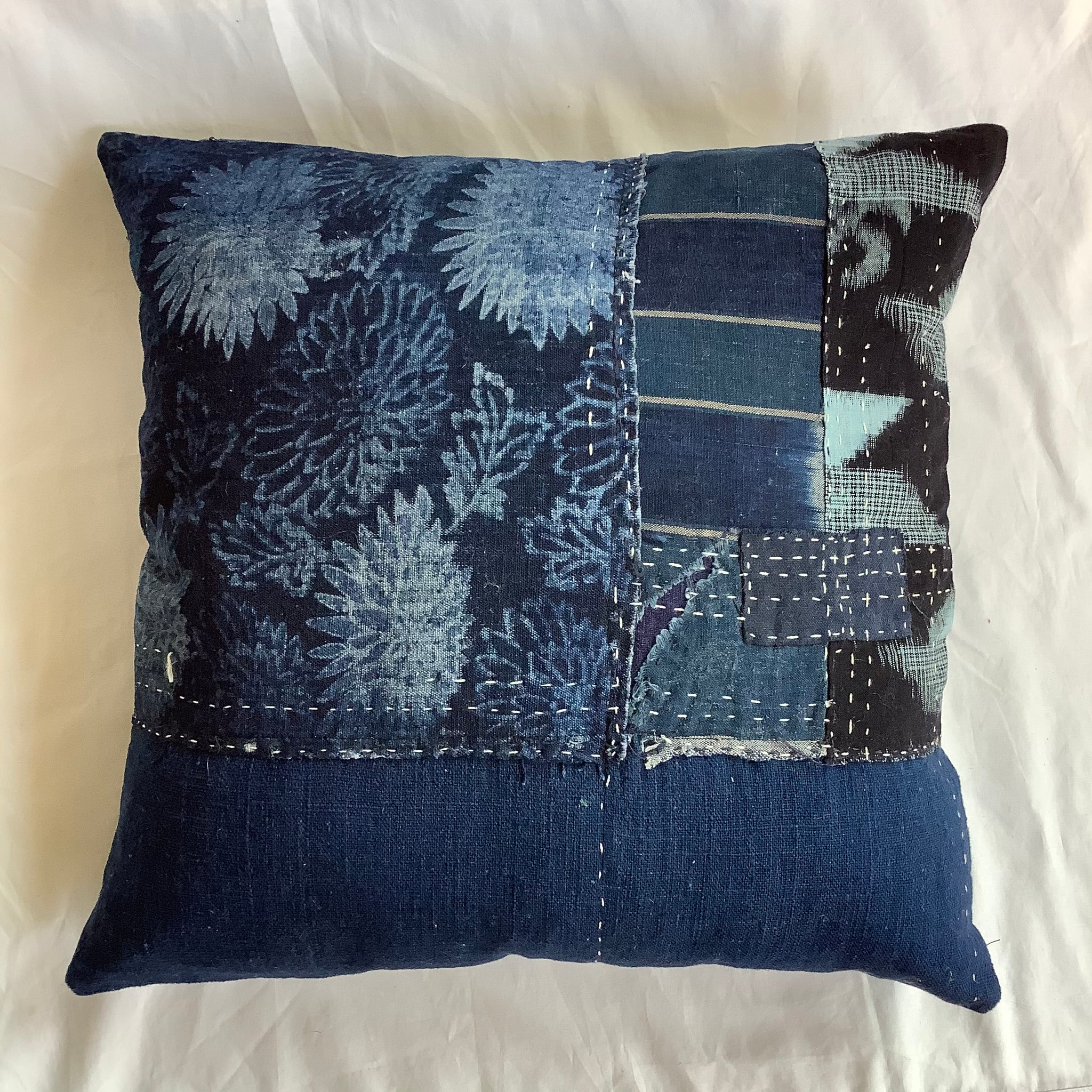 Sali - Indigo Patchwork Cushion