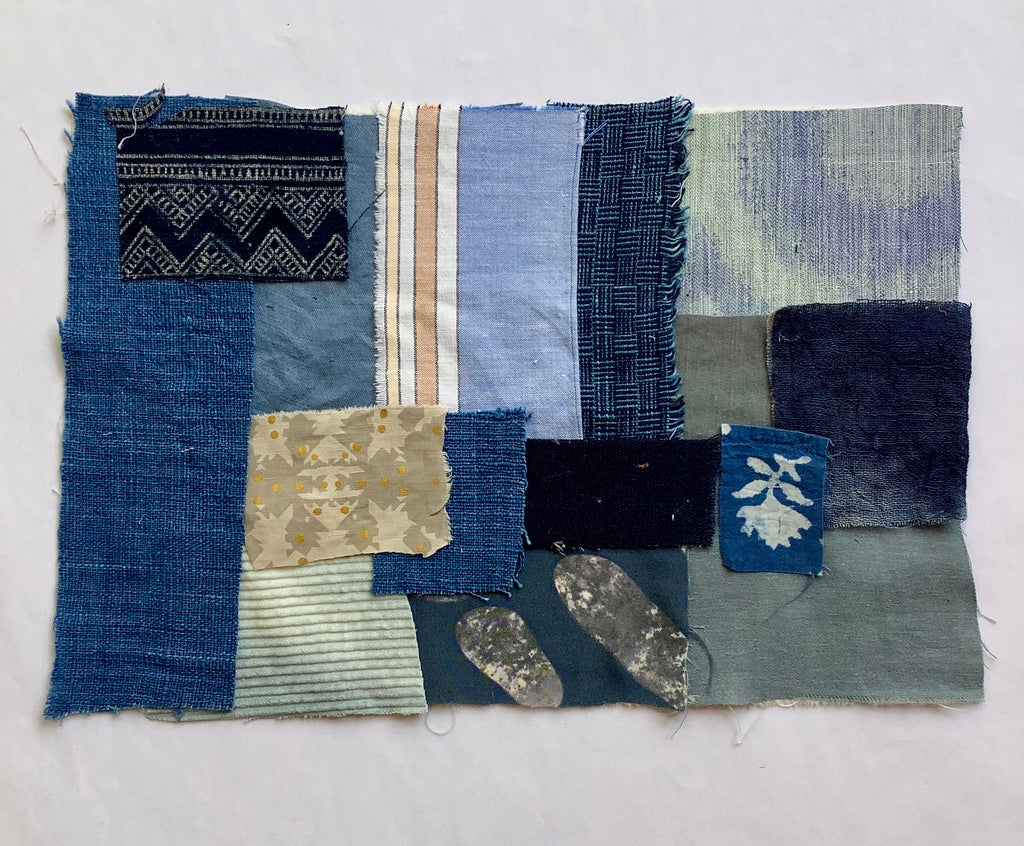 Indigo Cotton Patchwork Fabric Pieces