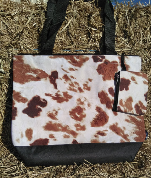 Cow print bag w/coin purse