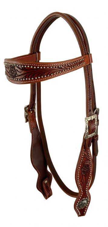 Burgundy tooled bridle