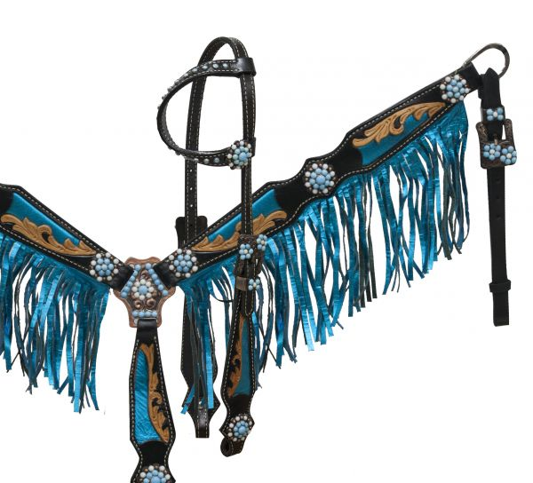 Blue metallic bridle and breastplate set