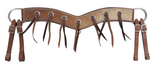 Cowhide and leather string breastplate