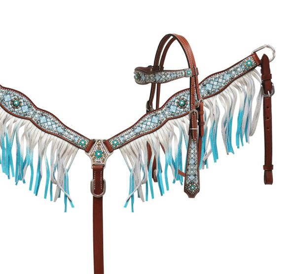 Blue diamond bridle and breastplate set. Cob
