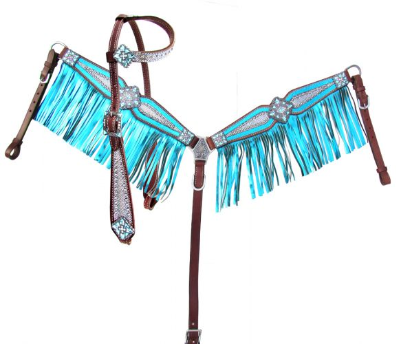 Showman® Bejeweled metallic bridle and breastplate set. Cob
