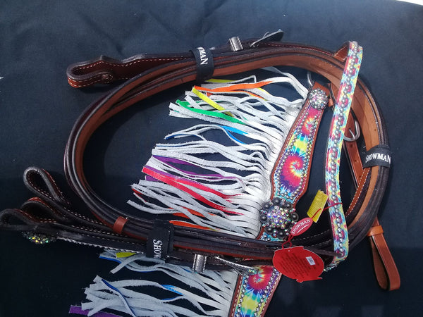 Rainbow tie dye bridle and breastplate set cob
