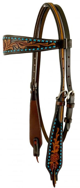 Tooled bridle w/ turquoise buckstitch.