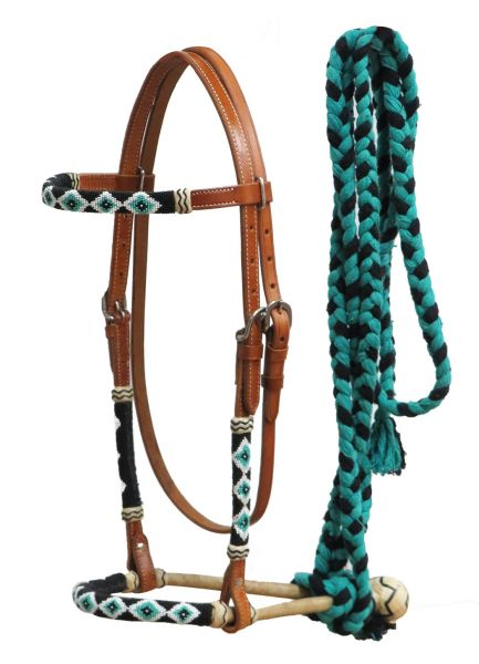 Bosal - beaded with teal.