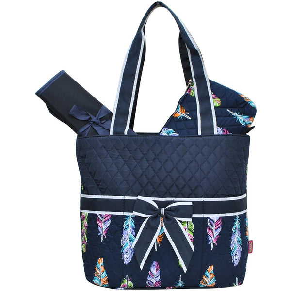 Feather Quilted 3pcs Diaper Bag