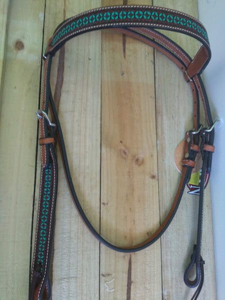 Bridle with turquoise tooling