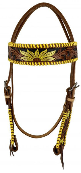 Buckstitch sunflower bridle