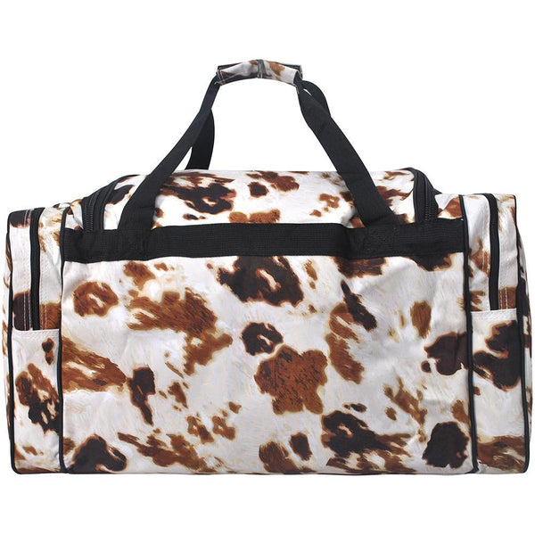 Cow Print duffel bag. 23 inch