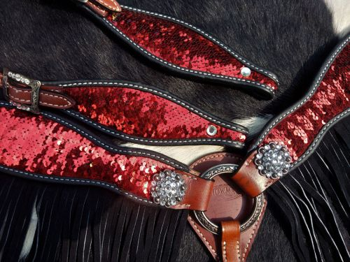 Red Sequined bridle and breastplate set