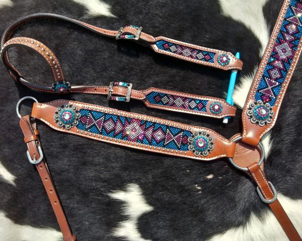 Teal and pink crystal inlay set