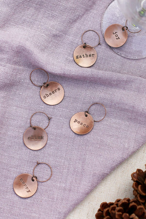 Brushed Copper Wine Charm Set