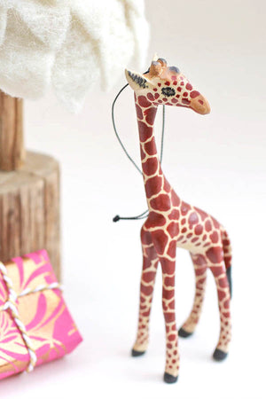 Jacaranda Wood Giraffe Ornament