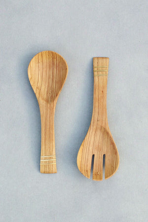 Hand Carved Olive Wood Server Set