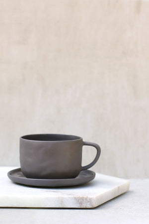 Slate Grey Stoneware Teacup and Saucer