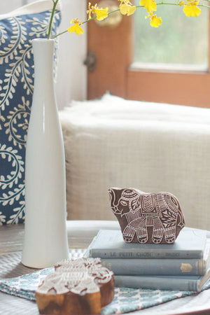 Hand Carved Wood Block - Elephant