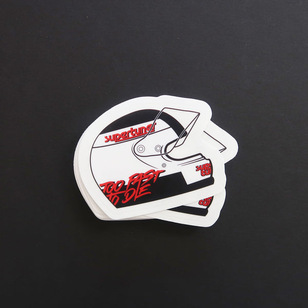 """Too fast to die"" slap sticker with clear visor."