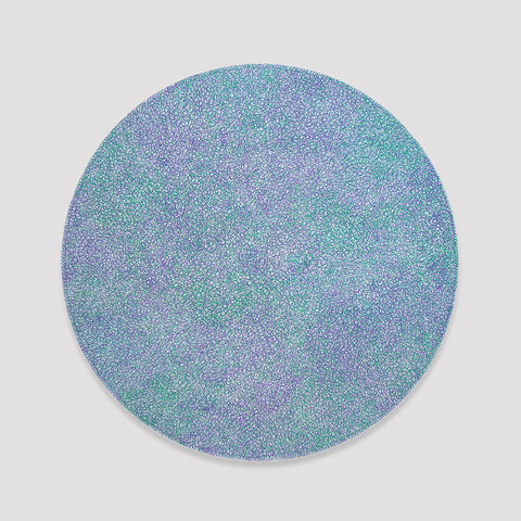 Fine green and violet scribbles filling a white circle
