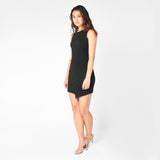 Black Ridge-Slit Dress