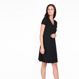 Black Rolled Cuff Trapeze Dress