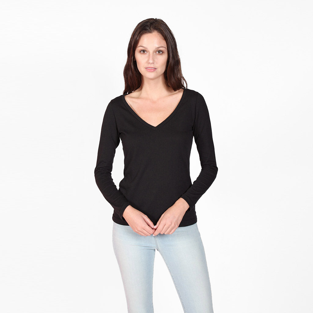 Black Long Sleeve V-Neck Tee