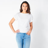 White Rolled Cuff Tee
