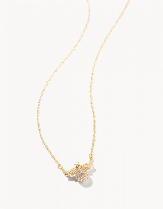Delicate Sparkly Bee Necklace - Gold/Crystal