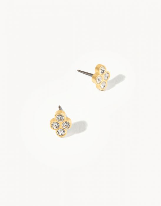 Delicate Sprite Stud Earrings - Gold/Crystal