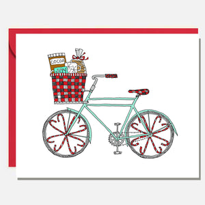 Winter Bike with Cocoa Buffalo Plaid Holiday Card