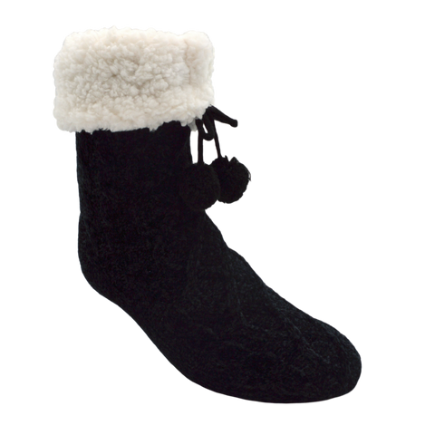 Chenille Knit Classic Slipper Socks | BLACK