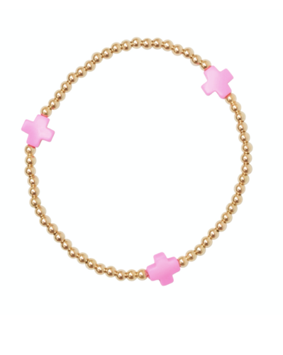 Bead Bracelet - Assorted Signature Cross Gold 3mm