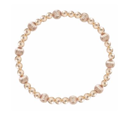 Bead Bracelet - Dignity Sincerity Pattern 6mm Gold