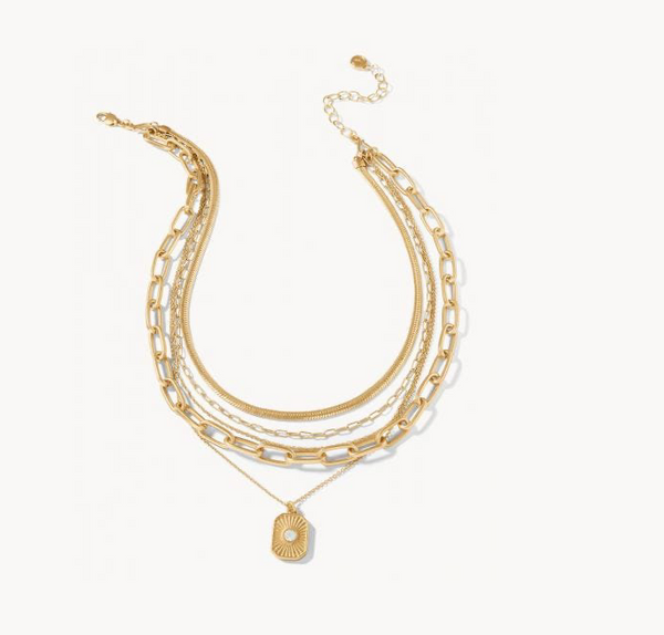 Radiant Window Layering Necklace - Patterned Gold