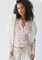 Load image into Gallery viewer, One of the Girls Printed Henley - Light Pink Combo