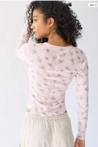 One of the Girls Printed Henley - Light Pink Combo