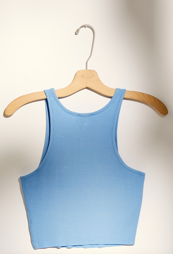 High Neck Ribbed Crop - Sky Blue